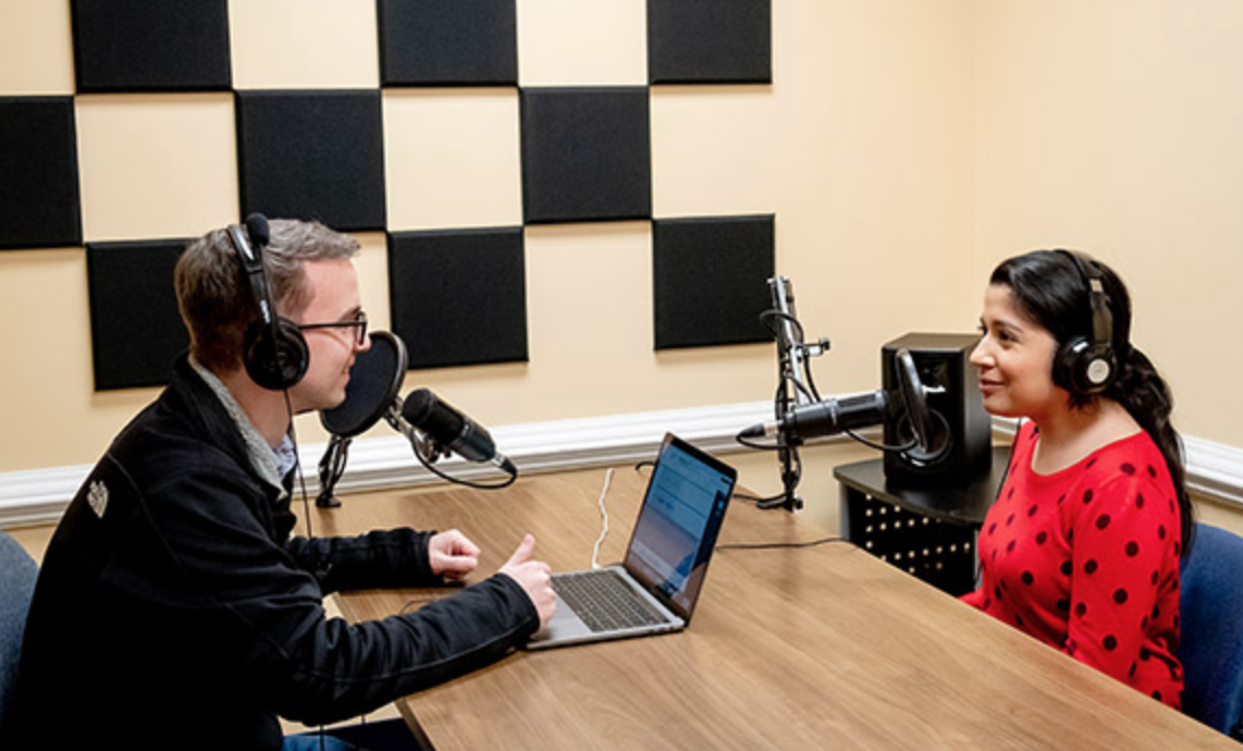 Image of Ben and Marissa in the Podcasting Studio